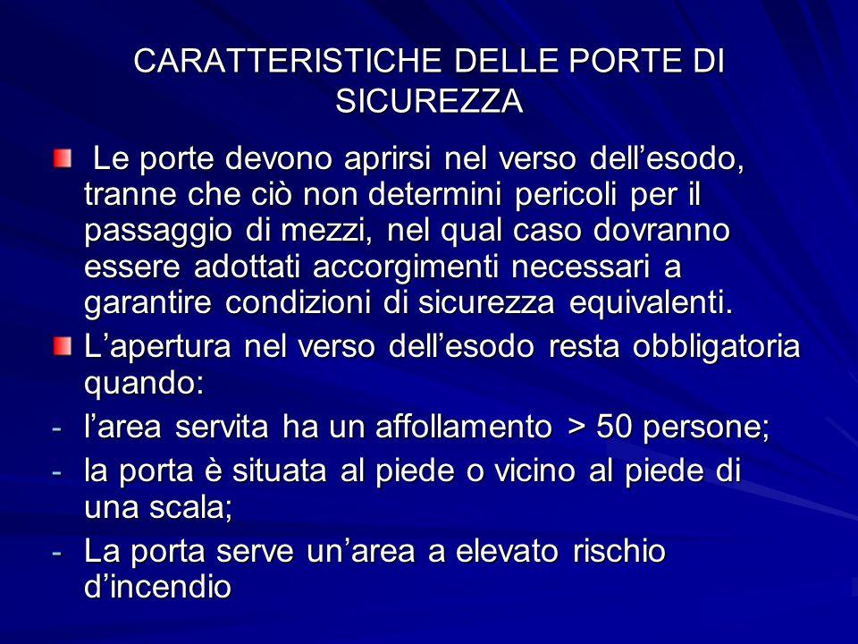 CARATTERISTICHE DELLE PORTE DI SICUREZZA