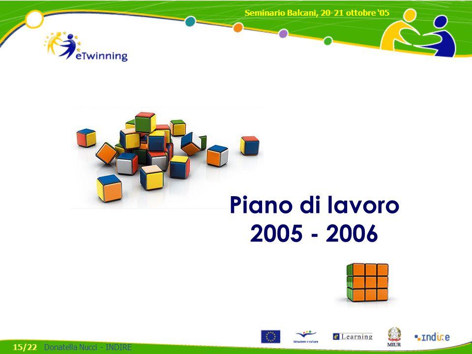 Piano di lavoro 2005 - 2006 Seminario Balcani, 20-21 ottobre '05 15/22