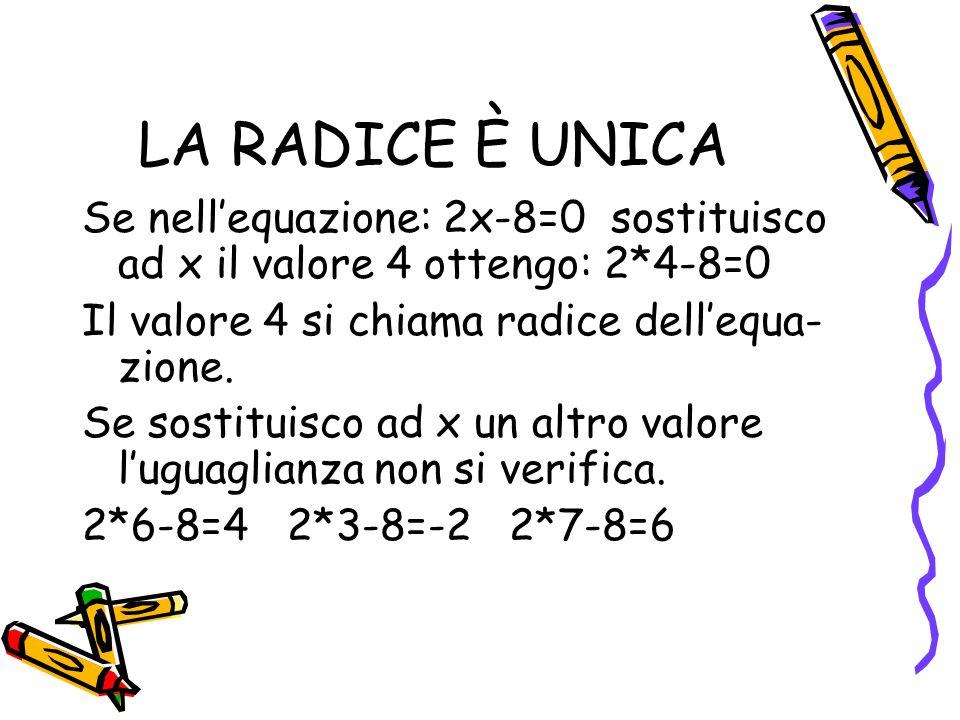 LA RADICE È UNICA Se nell'equazione: 2x-8=0 sostituisco ad x il valore 4 ottengo: 2*4-8=0. Il valore 4 si chiama radice dell'equa-zione.