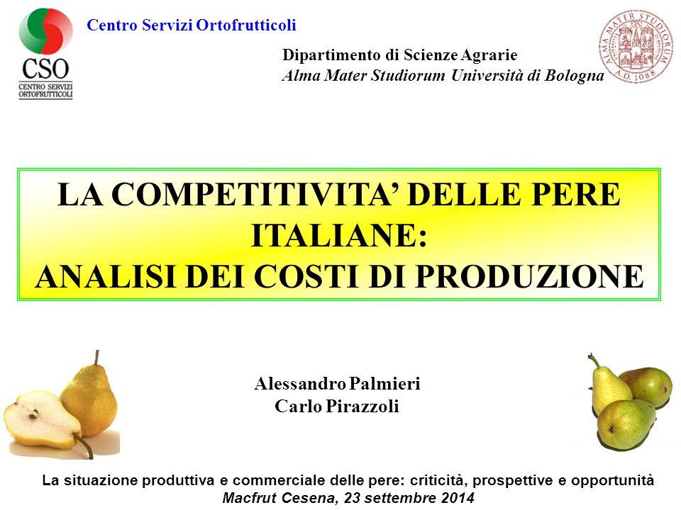 LA COMPETITIVITA' DELLE PERE ITALIANE: ANALISI DEI COSTI DI PRODUZIONE