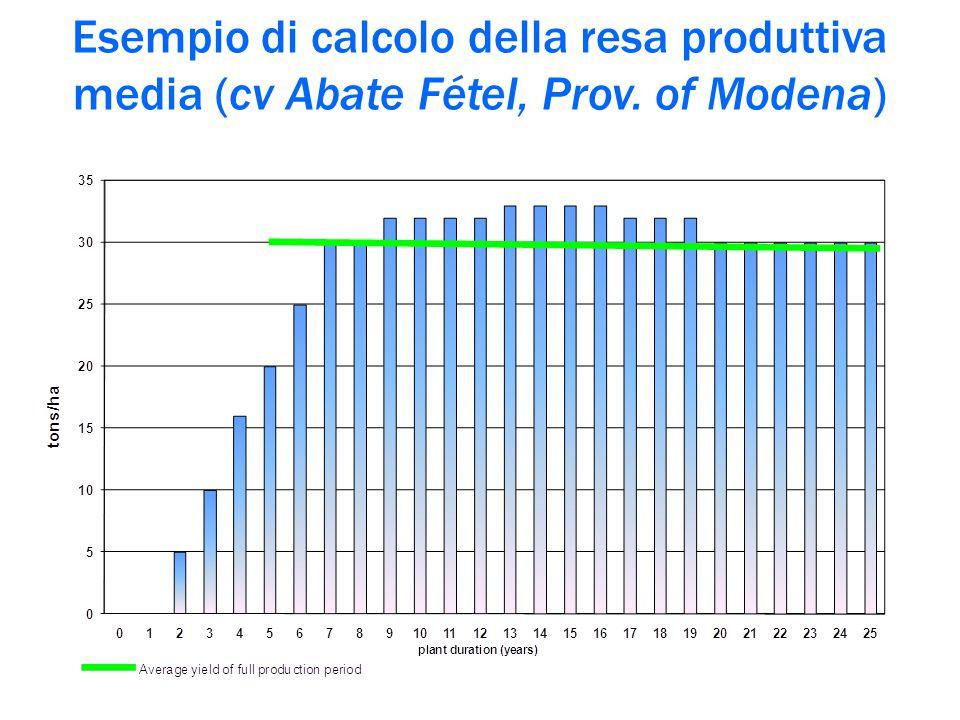 Esempio di calcolo della resa produttiva media (cv Abate Fétel, Prov