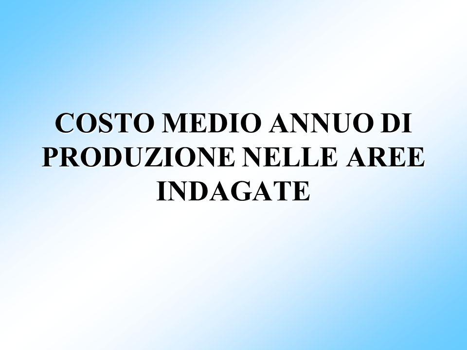 COSTO MEDIO ANNUO DI PRODUZIONE NELLE AREE INDAGATE