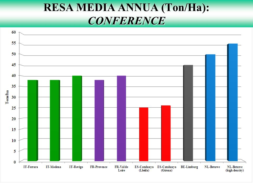 RESA MEDIA ANNUA (Ton/Ha): CONFERENCE