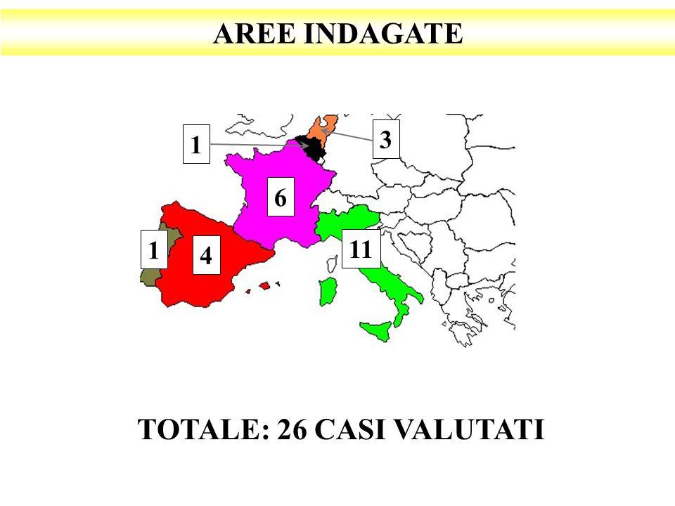 AREE INDAGATE 3 1 6 1 11 4 TOTALE: 26 CASI VALUTATI