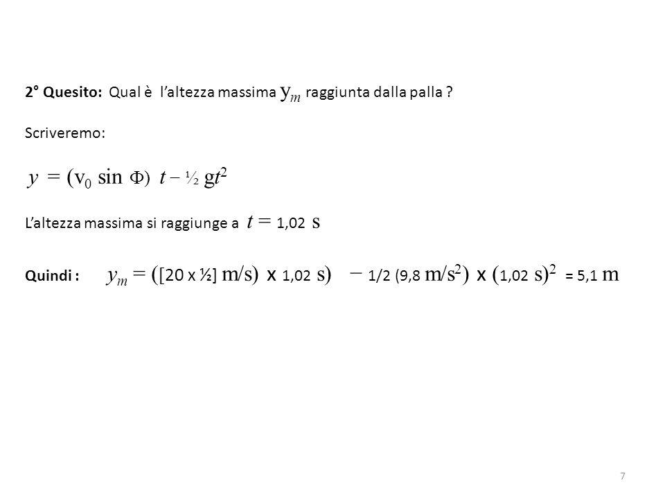 2° Quesito: Qual è l'altezza massima ym raggiunta dalla palla