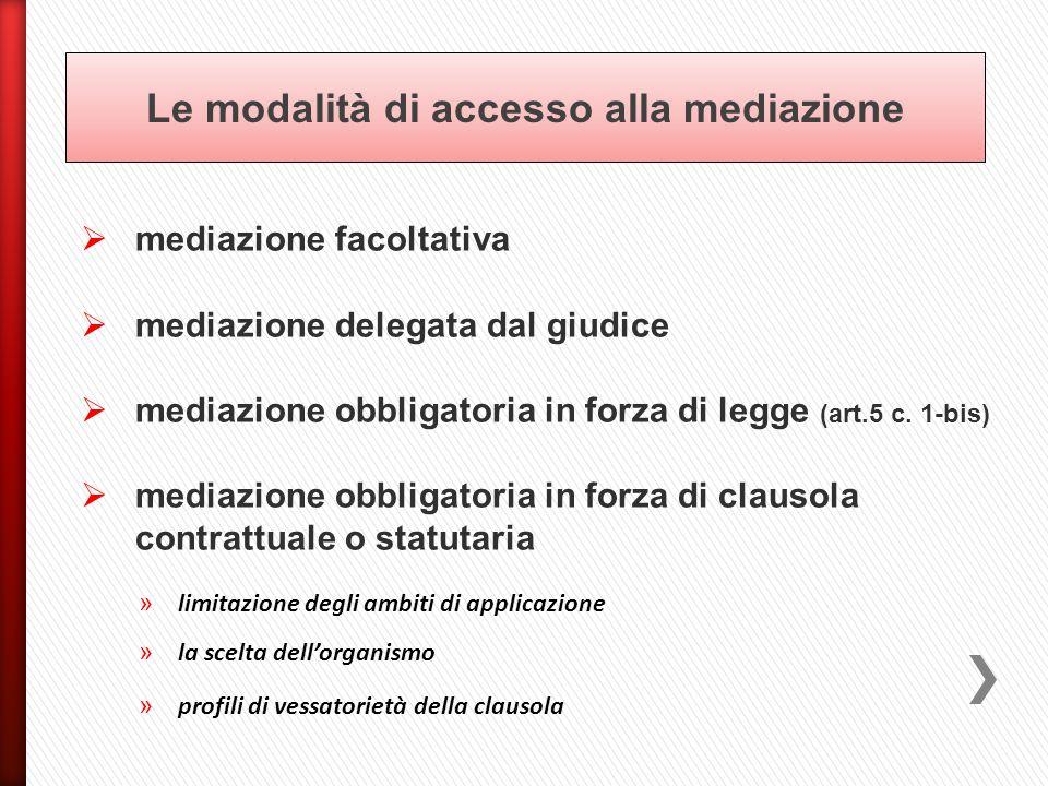 Le modalità di accesso alla mediazione