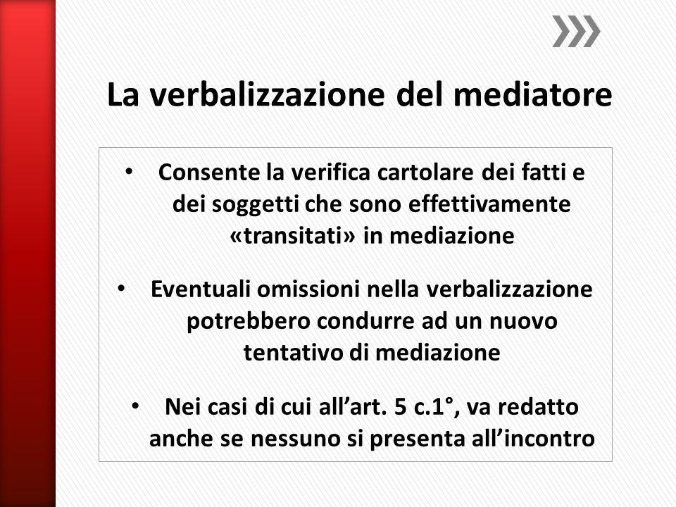 La verbalizzazione del mediatore