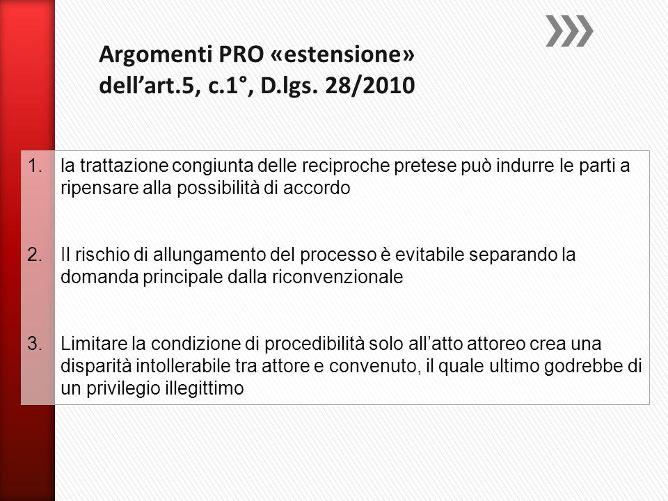 Argomenti PRO «estensione» dell'art.5, c.1°, D.lgs. 28/2010