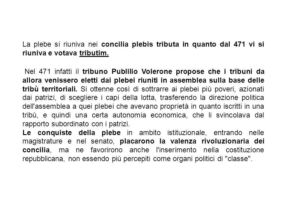 La plebe si riuniva nei concilia plebis tributa in quanto dal 471 vi si riuniva e votava tributim.