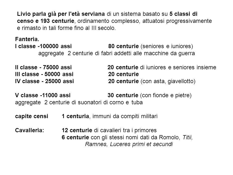 Livio parla già per l età serviana di un sistema basato su 5 classi di censo e 193 centurie, ordinamento complesso, attuatosi progressivamente e rimasto in tali forme fino al III secolo.