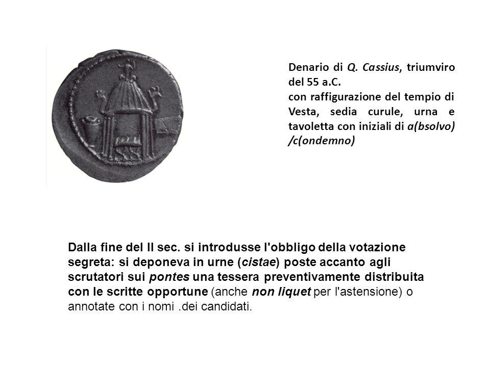 Denario di Q. Cassius, triumviro del 55 a.C.
