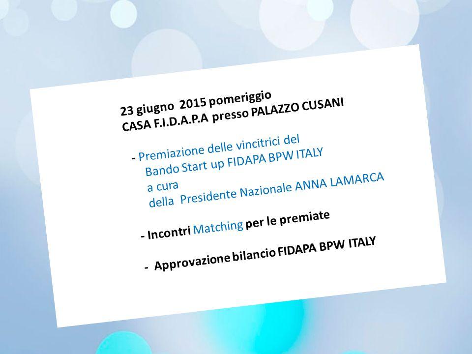 23 giugno 2015 pomeriggio CASA F.I.D.A.P.A presso PALAZZO CUSANI. - Premiazione delle vincitrici del.