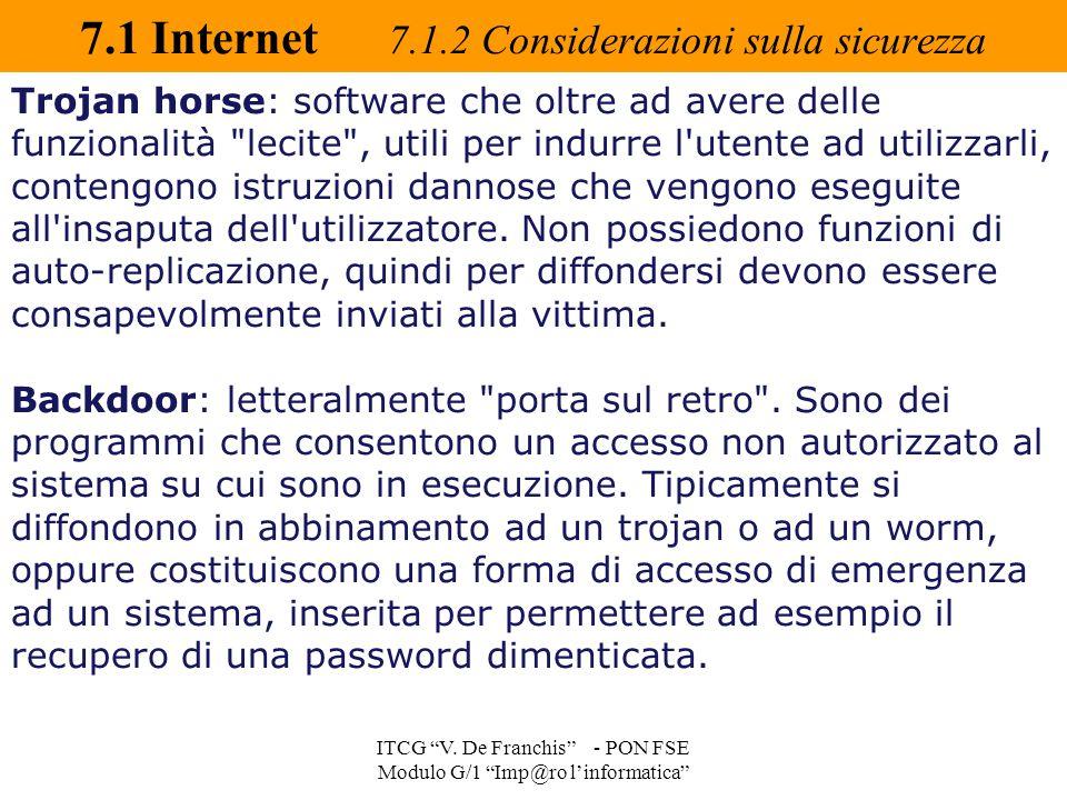 7.1 Internet 7.1.2 Considerazioni sulla sicurezza