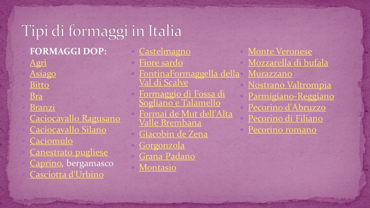Tipi di formaggi in Italia