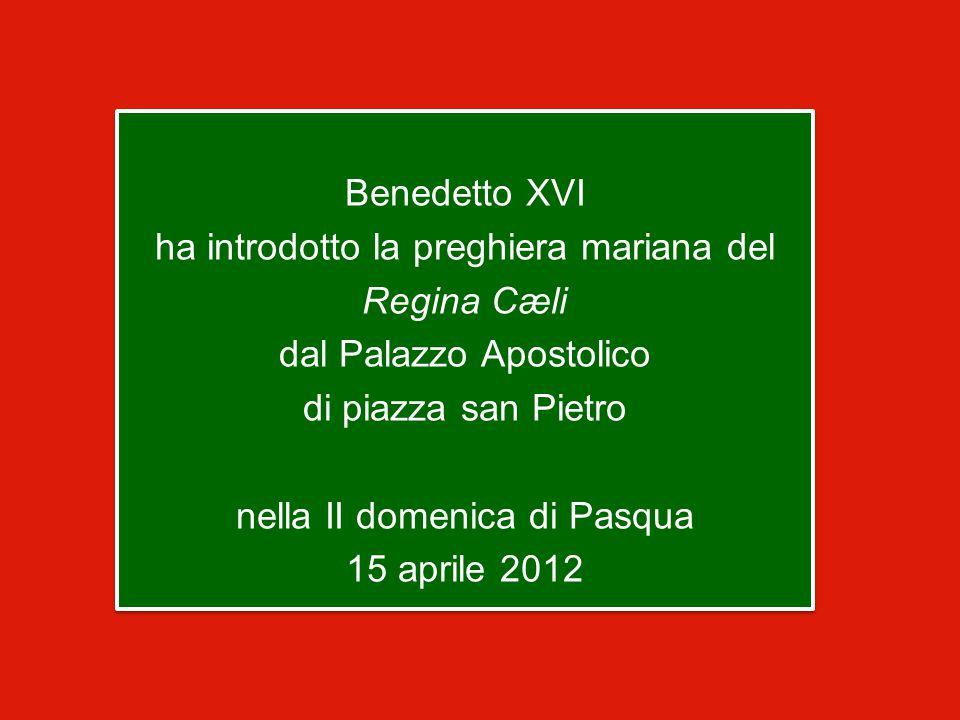 Benedetto XVI ha introdotto la preghiera mariana del Regina Cæli dal Palazzo Apostolico di piazza san Pietro nella II domenica di Pasqua 15 aprile 2012
