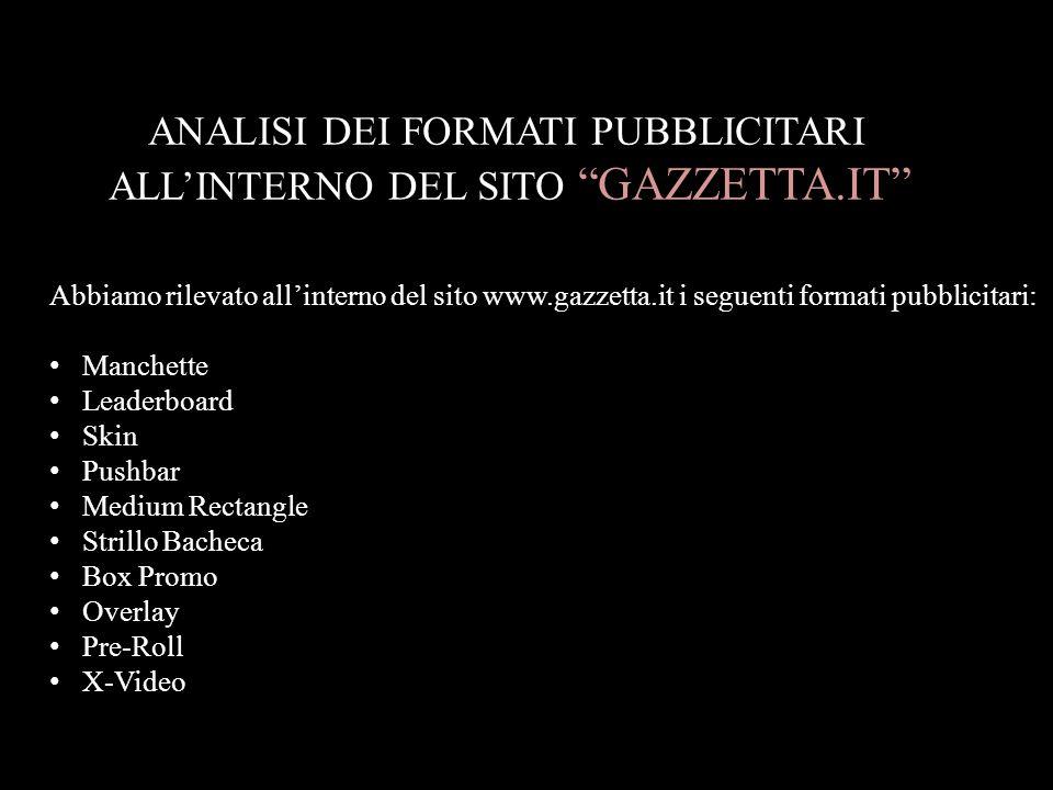 ANALISI DEI FORMATI PUBBLICITARI ALL'INTERNO DEL SITO GAZZETTA.IT