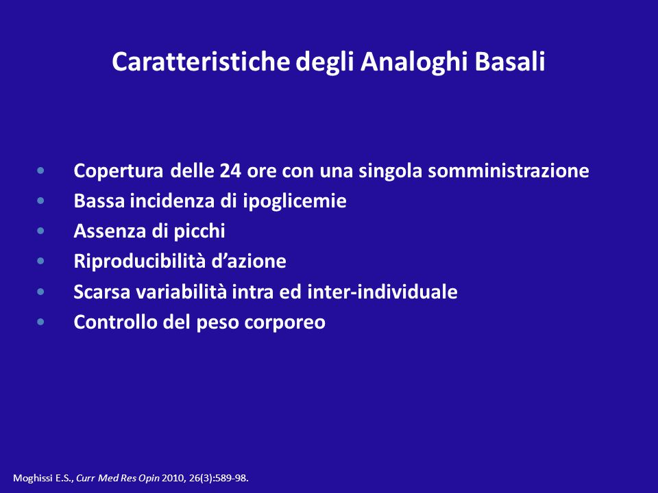 Caratteristiche degli Analoghi Basali