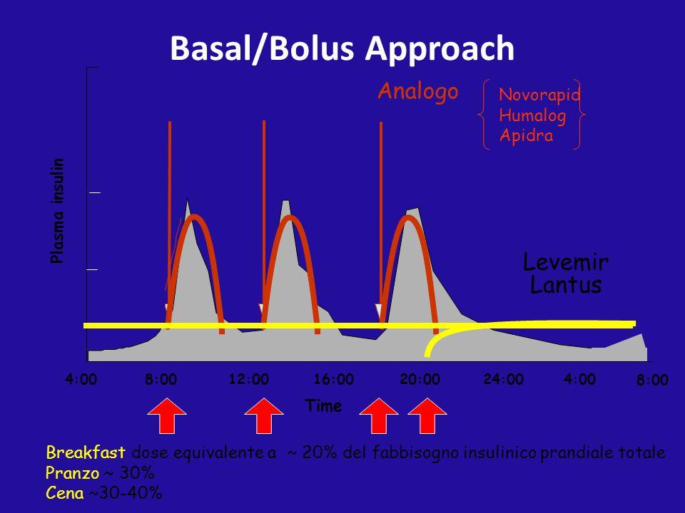 Basal/Bolus Approach Levemir Lantus Analogo Novorapid Humalog Apidra