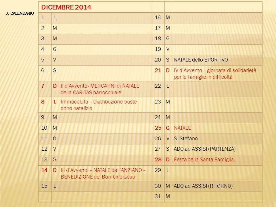 DICEMBRE 2014 1 L 16 M 2 17 3 18 G 4 19 V 5 20 S NATALE dello SPORTIVO