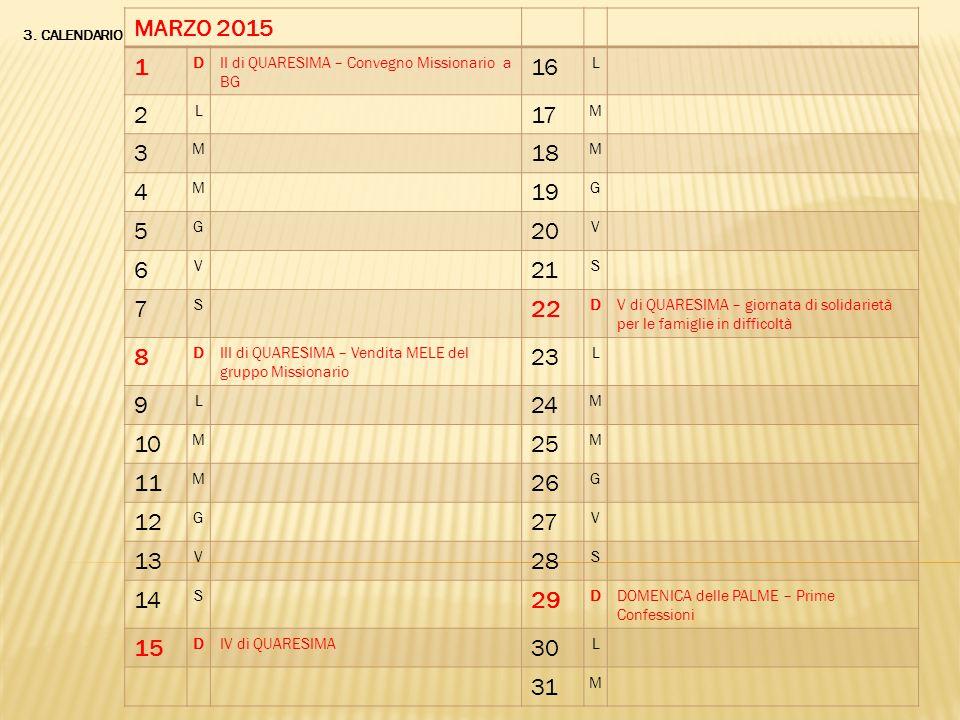 MARZO 2015 1. D. II di QUARESIMA – Convegno Missionario a BG. 16. L. 2. 17. M. 3. 18. 4.
