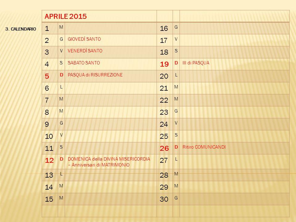 APRILE 2015 1. M. 16. G. 2. GIOVEDÌ SANTO. 17. V. 3. VENERDÌ SANTO. 18. S. 4. SABATO SANTO.