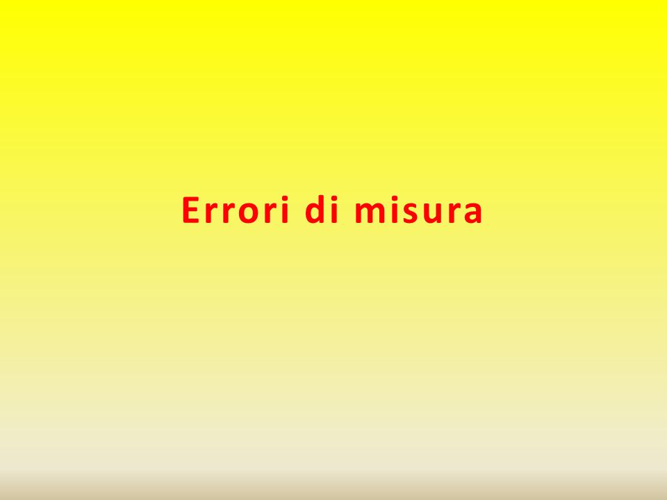 Errori di misura