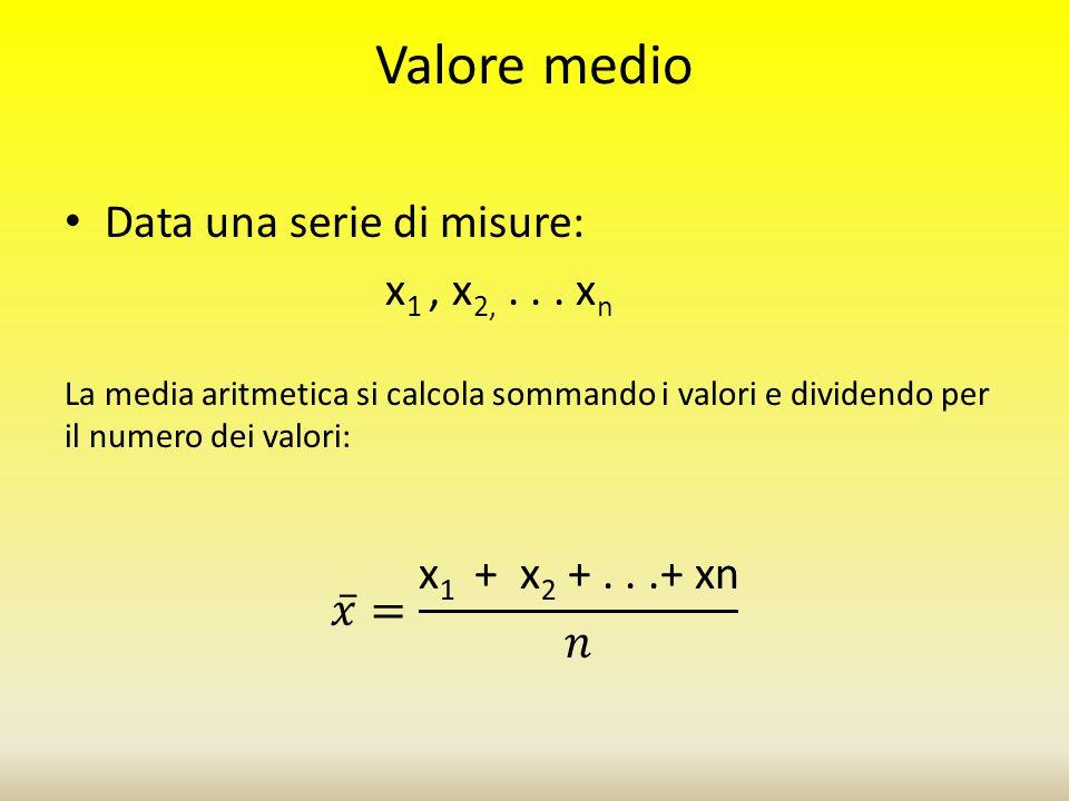 Valore medio Data una serie di misure: x1 , x2, . . . xn