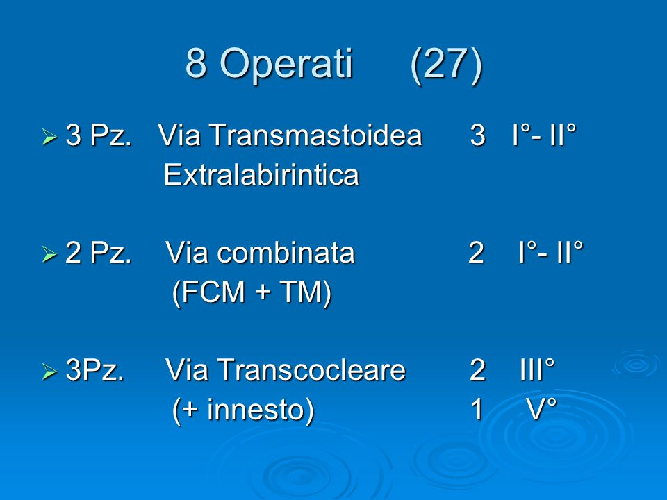 8 Operati (27) 3 Pz. Via Transmastoidea 3 I°- II° Extralabirintica