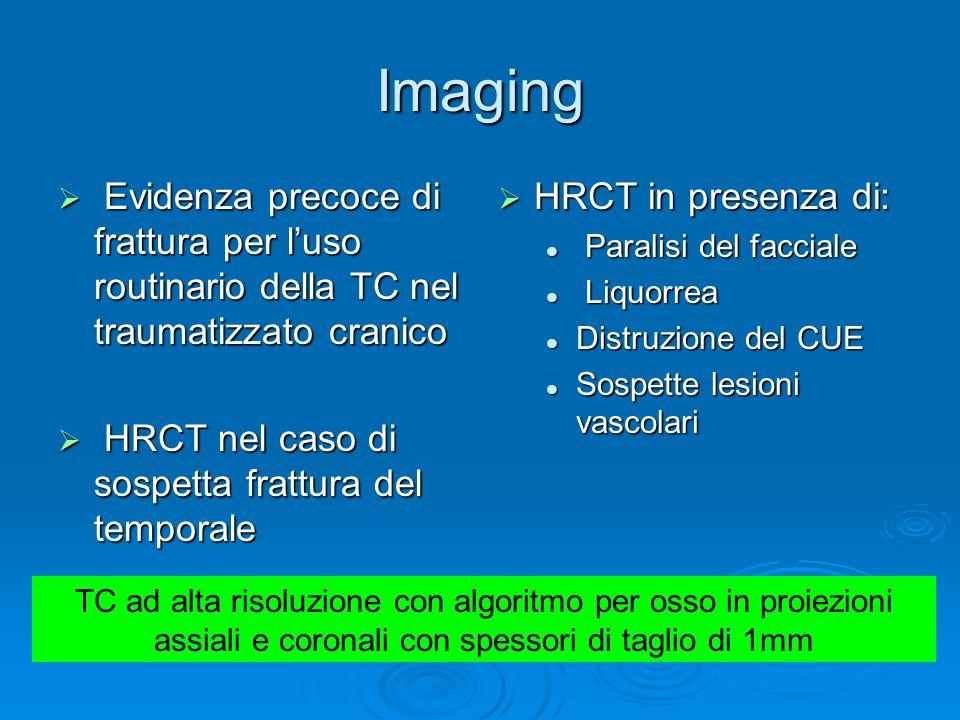 Imaging Evidenza precoce di frattura per l'uso routinario della TC nel traumatizzato cranico. HRCT nel caso di sospetta frattura del temporale.