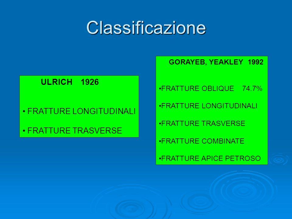 Classificazione FRATTURE LONGITUDINALI FRATTURE TRASVERSE
