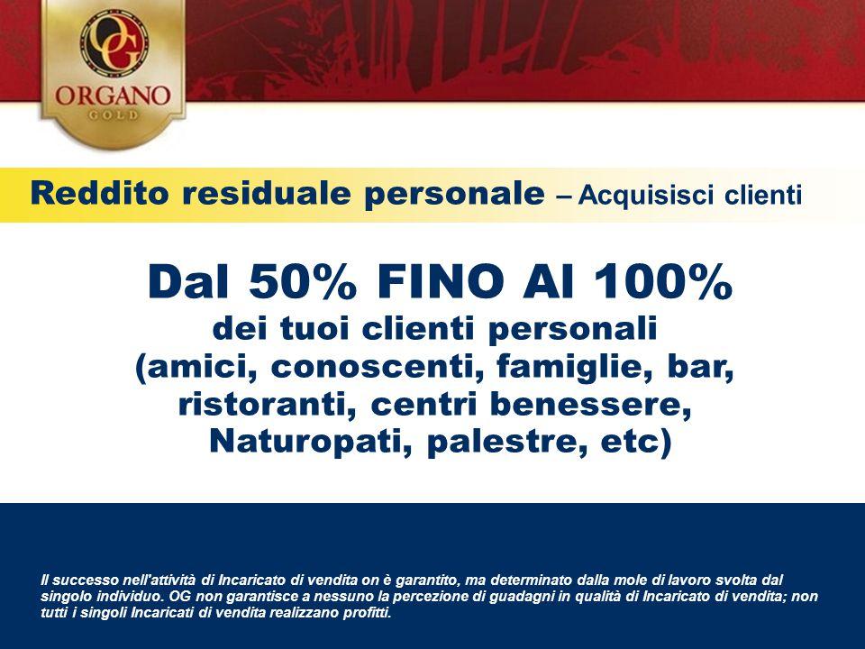 Dal 50% FINO Al 100% Reddito residuale personale – Acquisisci clienti