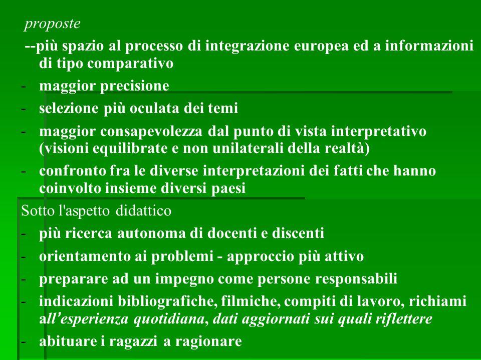 proposte --più spazio al processo di integrazione europea ed a informazioni di tipo comparativo. maggior precisione.