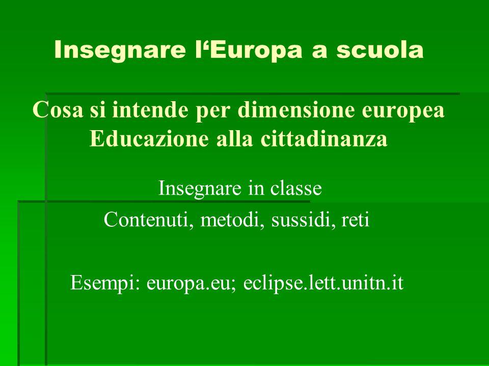 Insegnare l'Europa a scuola Cosa si intende per dimensione europea Educazione alla cittadinanza