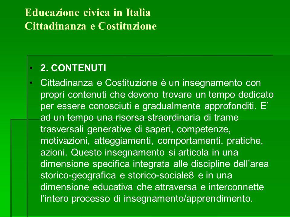 Educazione civica in Italia Cittadinanza e Costituzione