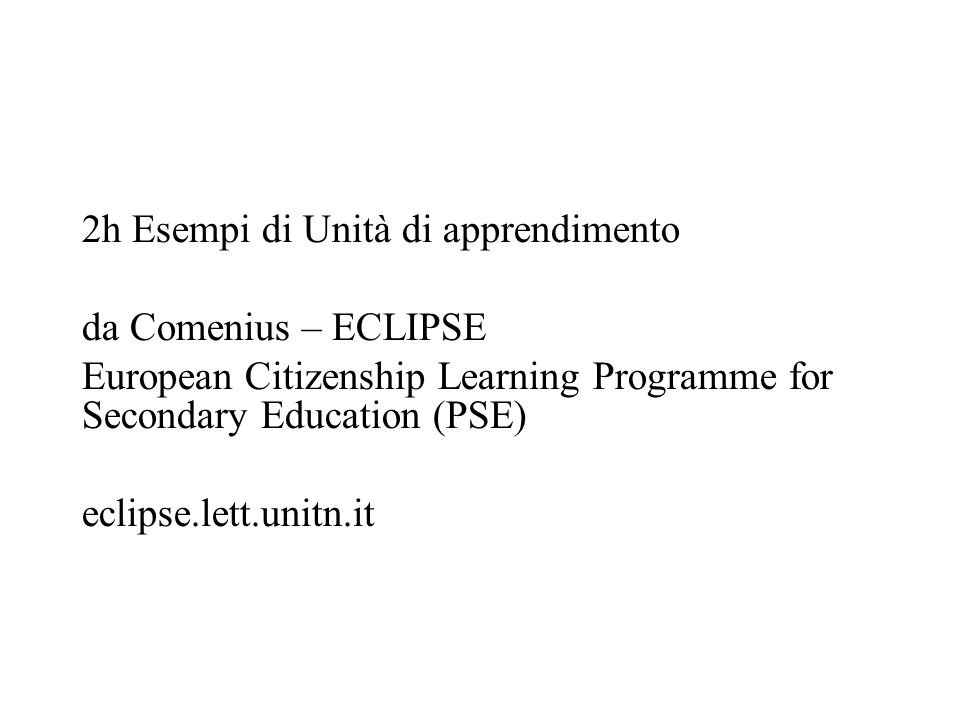 2h Esempi di Unità di apprendimento