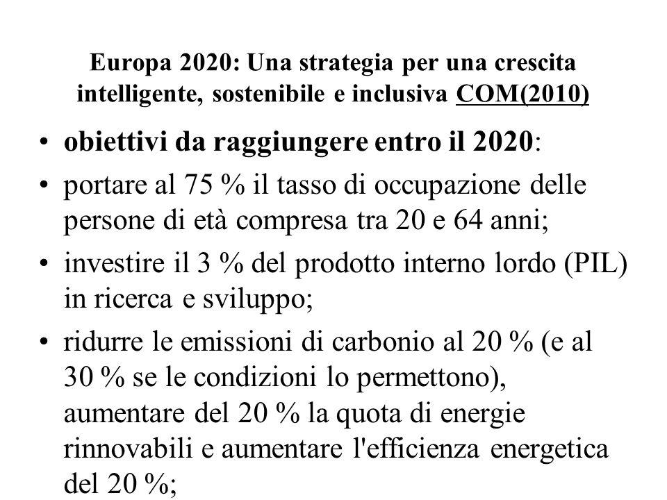 obiettivi da raggiungere entro il 2020: