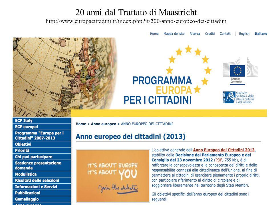 20 anni dal Trattato di Maastricht http://www. europacittadini