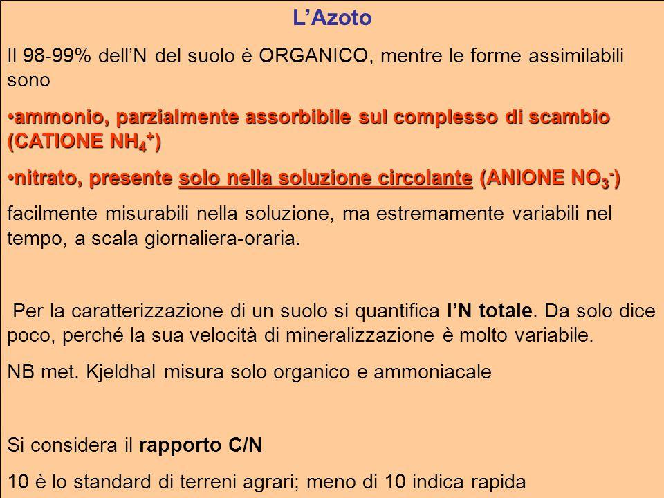 L'Azoto Il 98-99% dell'N del suolo è ORGANICO, mentre le forme assimilabili sono.