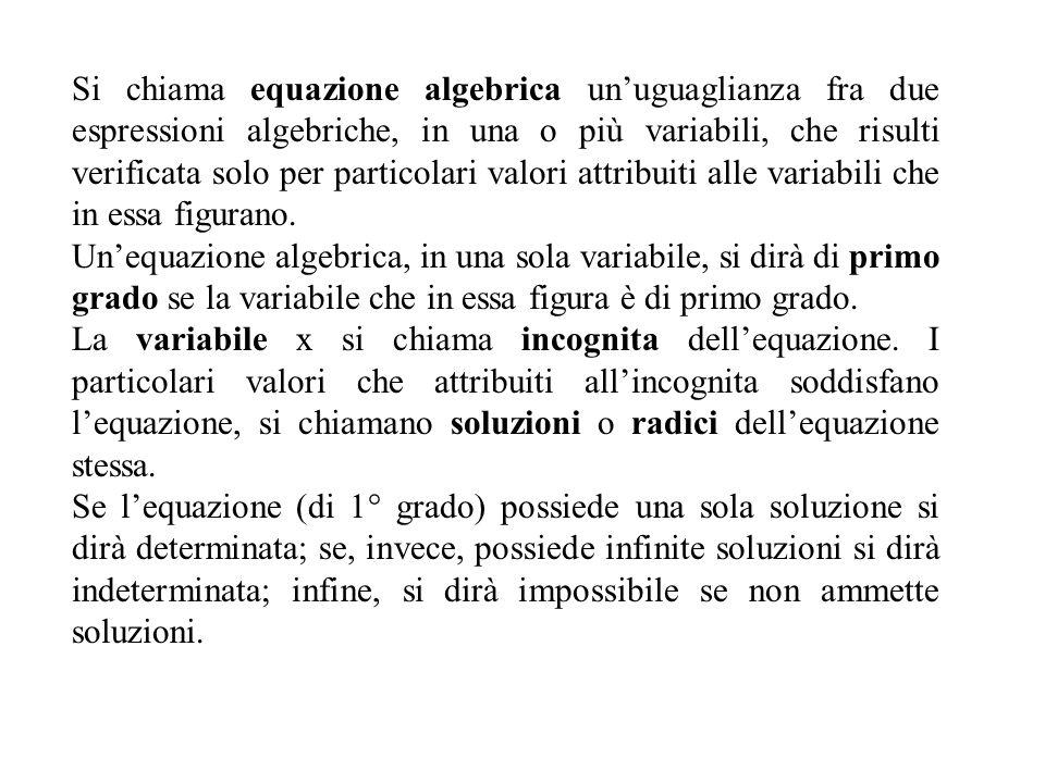 Si chiama equazione algebrica un'uguaglianza fra due espressioni algebriche, in una o più variabili, che risulti verificata solo per particolari valori attribuiti alle variabili che in essa figurano.