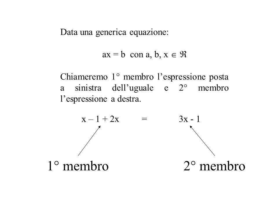 1° membro 2° membro Data una generica equazione: