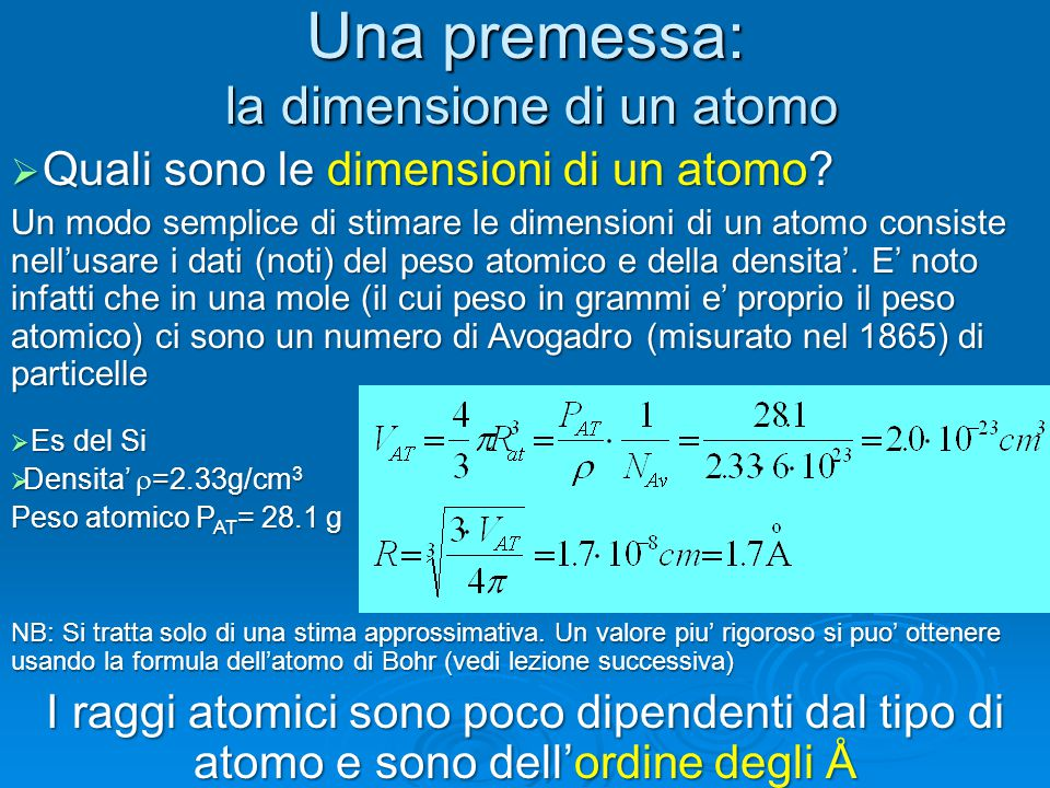 Una premessa: la dimensione di un atomo