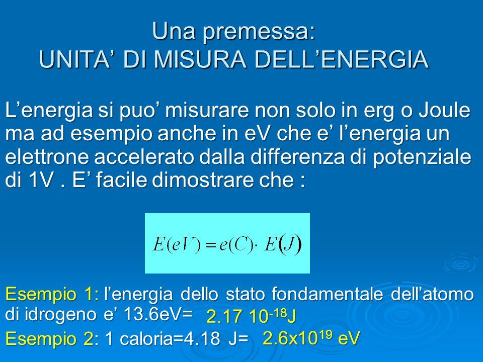 Una premessa: UNITA' DI MISURA DELL'ENERGIA