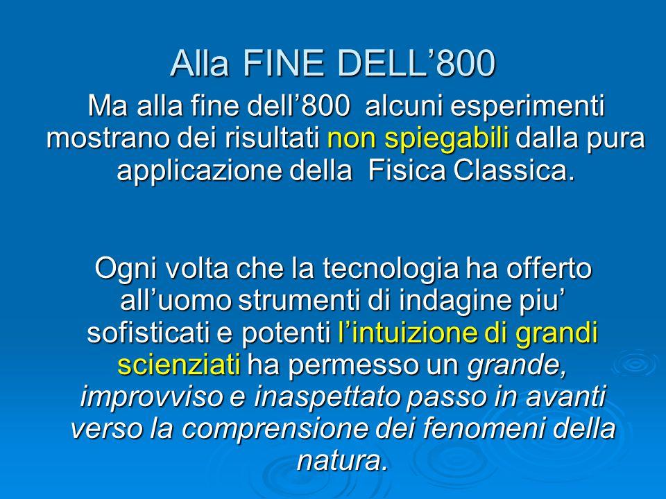 Alla FINE DELL'800 Ma alla fine dell'800 alcuni esperimenti mostrano dei risultati non spiegabili dalla pura applicazione della Fisica Classica.