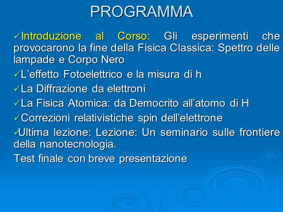 PROGRAMMA Introduzione al Corso: Gli esperimenti che provocarono la fine della Fisica Classica: Spettro delle lampade e Corpo Nero.