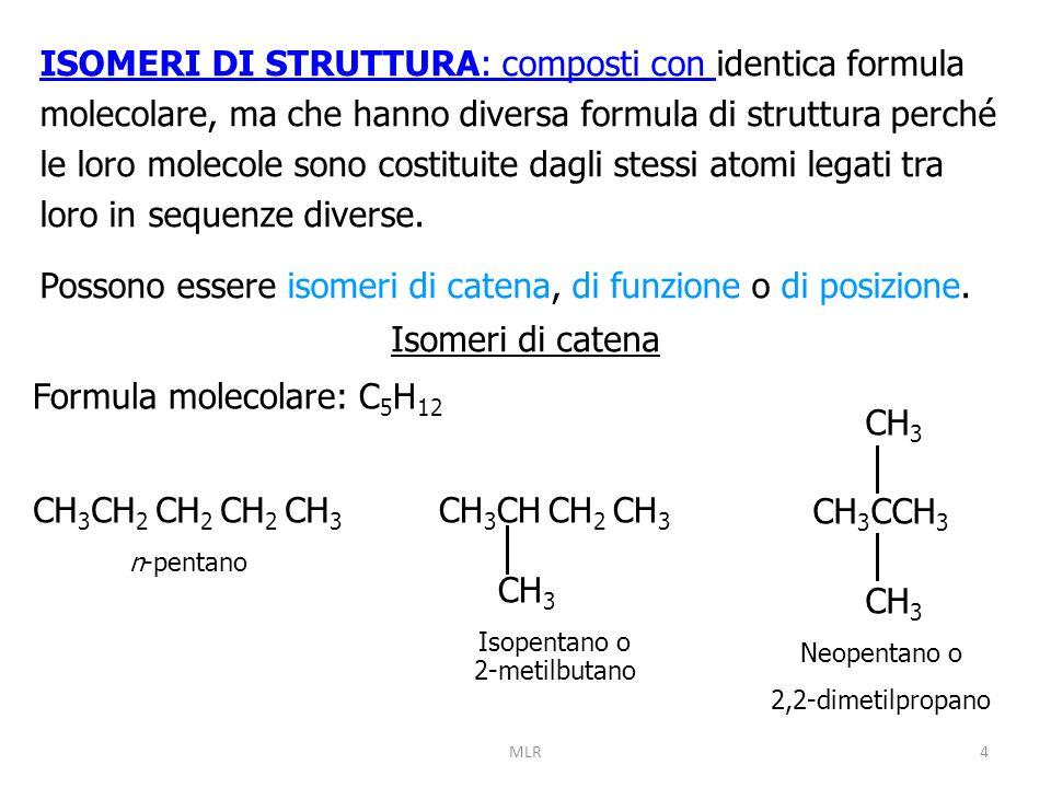 Possono essere isomeri di catena, di funzione o di posizione.