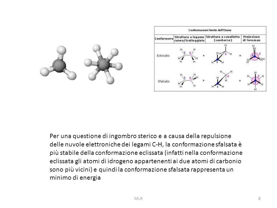 Per una questione di ingombro sterico e a causa della repulsione delle nuvole elettroniche dei legami C-H, la conformazione sfalsata è più stabile della conformazione eclissata (infatti nella conformazione eclissata gli atomi di idrogeno appartenenti ai due atomi di carbonio sono più vicini) e quindi la conformazione sfalsata rappresenta un minimo di energia