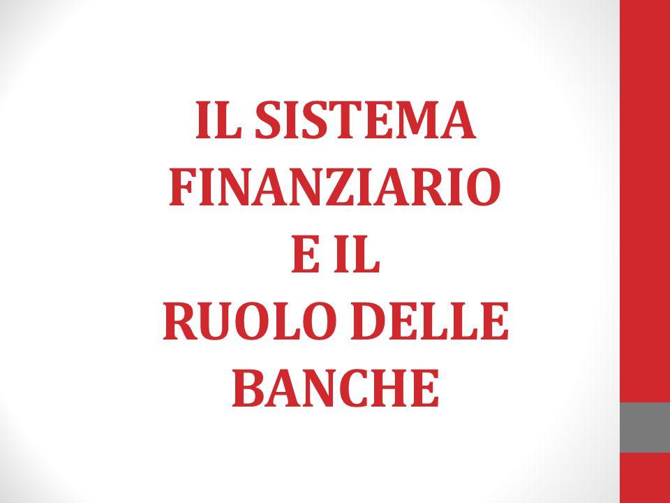 IL SISTEMA FINANZIARIO E IL RUOLO DELLE BANCHE