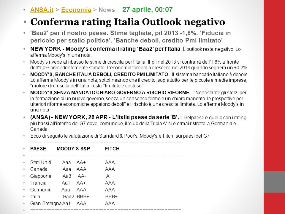 Conferma rating Italia Outlook negativo
