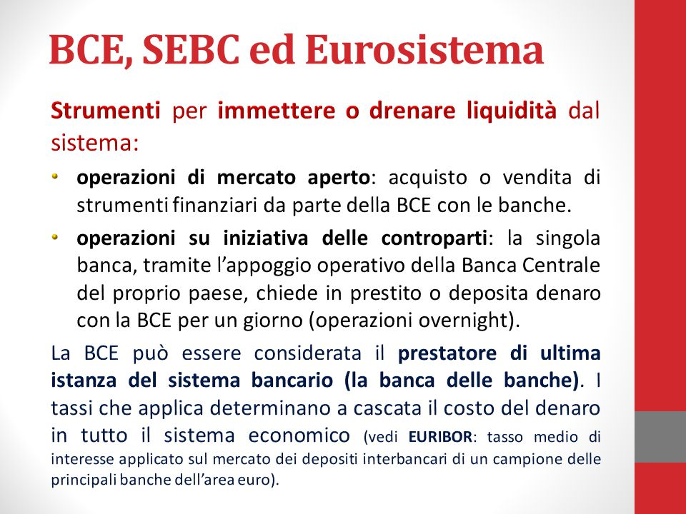 BCE, SEBC ed Eurosistema