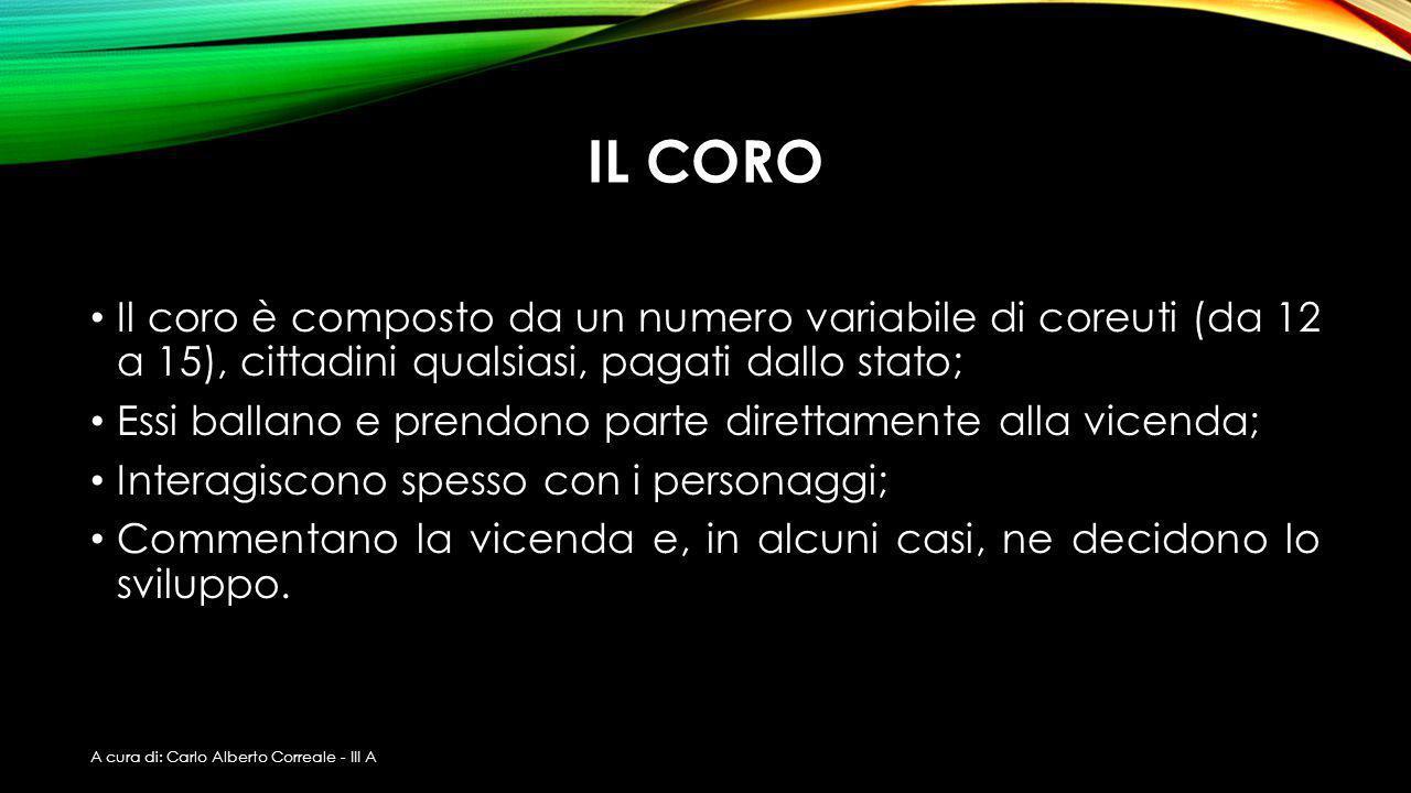 IL CORO Il coro è composto da un numero variabile di coreuti (da 12 a 15), cittadini qualsiasi, pagati dallo stato;